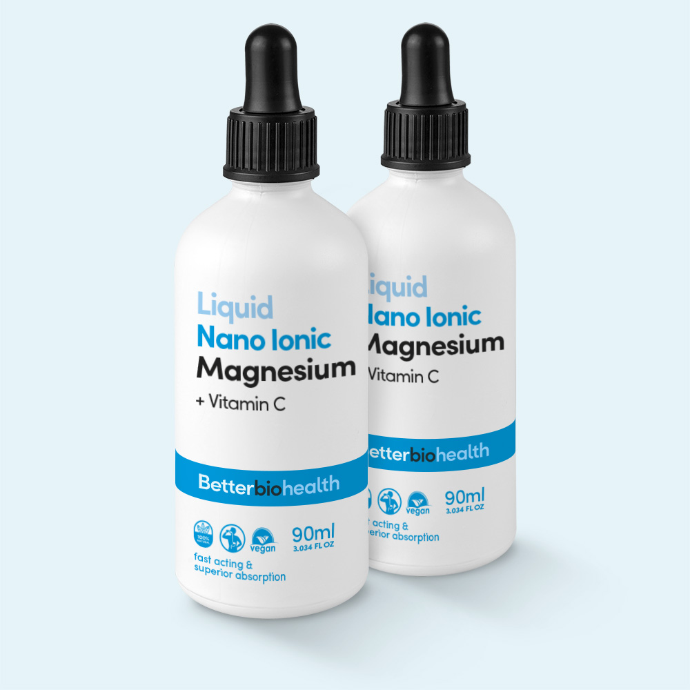 Nano Ionic Magnesium - Daily dose, easily absorbable, essential form, magnesium + vitamins C, reduces stomach irritation, Nano Ionic Liquid Magnesium, Magnesium, supports bones, supports muscles, supports heartbeat, supports immune system, enzyme reactions, absorption body's cells, absorbs better than pills, higher bioavailability, general health wellbeing, regulates Calcium transportation, tissue growth, supports immune system health function, primary electrolyte, Calcium, Potassium, Sodium, Chloride, helps conduction nerve impulses, relaxes muscle tissue, improves insomnia, reduces tiredness fatigue, better sleep, normal functioning nervous system, normal muscle function, normal protein synthesis, improves strength flexibility, loosens tight muscles, maintains bones teeth, fix calcium properly, Alkalizes body, Hydrates, relieve constipation, Enzyme function